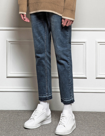 [RE-EDITION]WASHED CUTTING CROP JEAN [LIGHT BLUE]