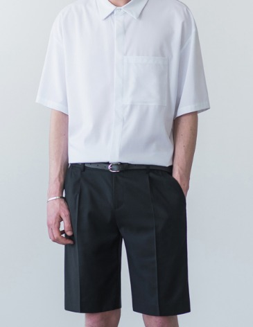 19S/S SEMI WIDE HALF SLACKS [BLACK]