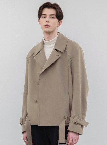 RELAXED WOOL SHORT TRENCH JACKET [LBEIGE]