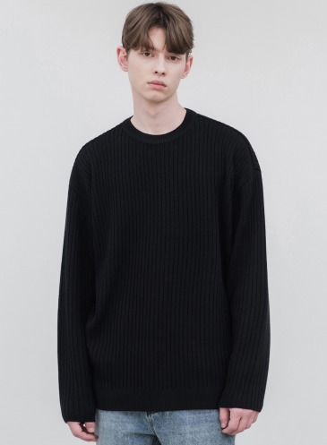 OVERSIZED RIBBED ROUND KNIT [BLACK]