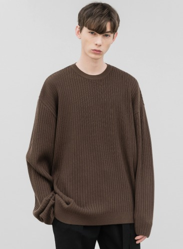 OVERSIZED RIBBED ROUND KNIT [BROWN]