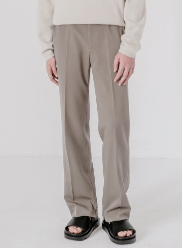 MODERNITY WIDE HIDDEN BANDING SLACKS [SMOKE BEIGE]