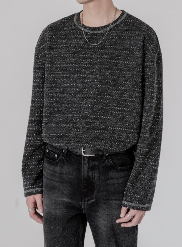 JACQUARD LAYER KNIT T-SHIRTS [CHARCOAL]