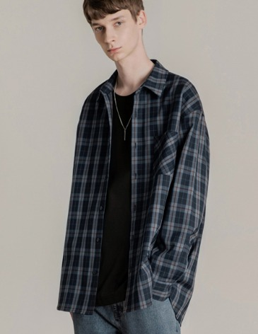 WISE CHECK OVER-FIT POCKET SHIRT [BLUE]