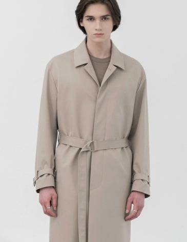 BELTED SINGLE TRENCH COAT [DUSTY CREAM]
