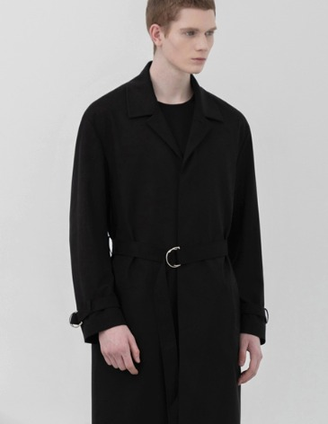 BELTED SINGLE TRENCH COAT [BLACK]