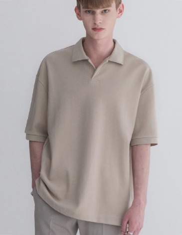 ESSENTIAL HIDDEN PIQUE T-SHIRTS [L.BEIGE]