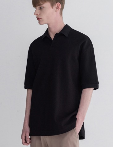 ESSENTIAL HIDDEN PIQUE T-SHIRTS [BLACK]