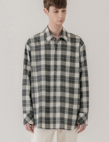PLAID OVER-FIT HIDDEN CHECK SHIRT [GERY]
