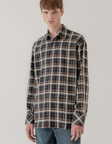 PLAID OVER-FIT HIDDEN CHECK SHIRT [NAVY]