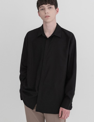OVERSIZED HIDDEN MINIMAL SHIRT [BLACK]