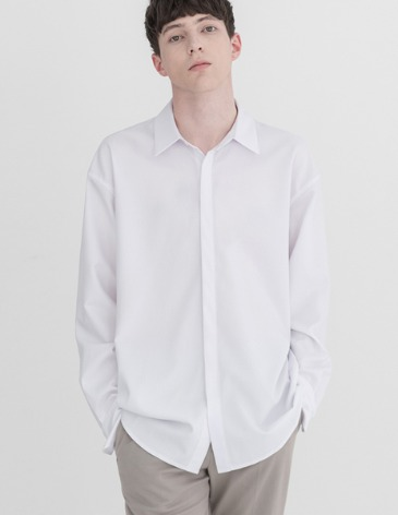 OVERSIZED HIDDEN MINIMAL SHIRT [WHITE]