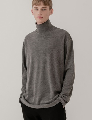 BREED HALF TURTLE-NECK KNIT T-SHIRTS [GREY]