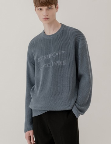 REVERSED LETTERING ROUND KNIT [INDI BLUE]