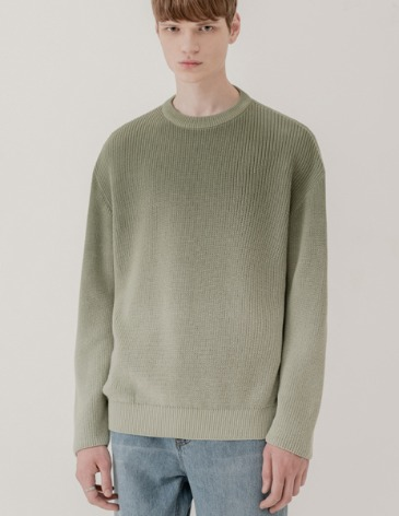 SOFT GRADATION ROUND KNIT [DUSTY GREEN]