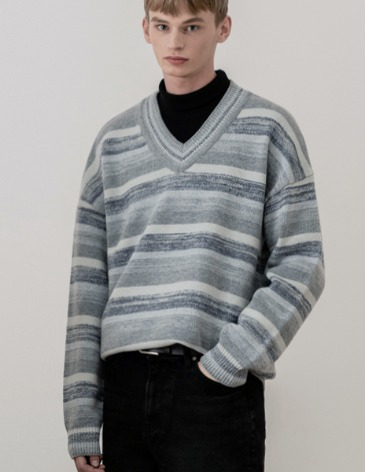 MIXED STRIPE V-NECK KNIT [SKY BLUE]
