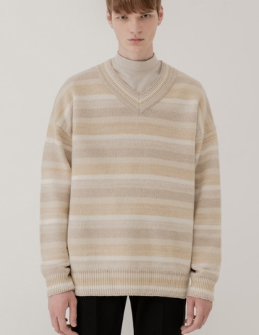MIXED STRIPE V-NECK KNIT [CREAM]