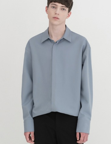 OVERSIZED HIDDEN MINIMAL SHIRT [BLUEGREY]