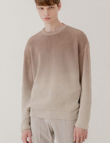 SOFT GRADATION ROUND KNIT [MOCHA BEIGE]