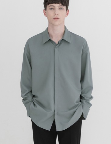 OVERSIZED HIDDEN MINIMAL SHIRT [MINTGREY]