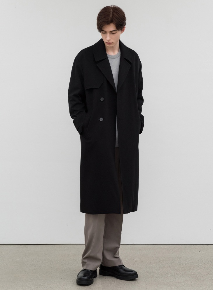 WOOL BLENDING OVER TRENCH COAT [BLACK]