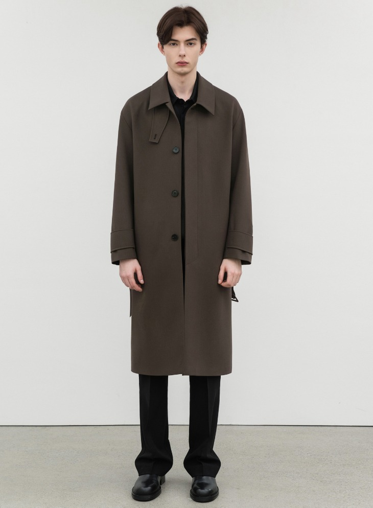 WOOL BLENDING BALMACAAN OVER-COAT [DARK BROWN]
