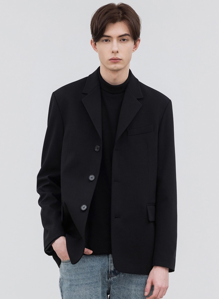 MODS WOOL 3-BUTTON BLAZER [BLACK]
